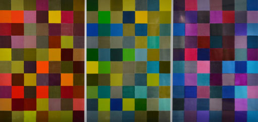 "Triptychon ""Im CIELab Farbraum""  2015 Druckfarbe auf Aluminium  100 x 210 cm"