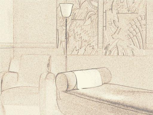 dessin preparatoire du cabinet