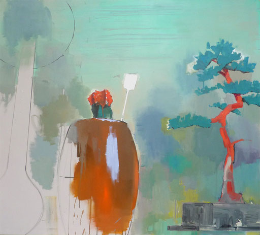 o.T.(Kaktus/Bonsai), Öl auf Leinwand, 190x190cm, 2009