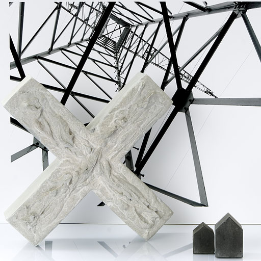 Original Large Concrete X Sculpture by PASiNGA