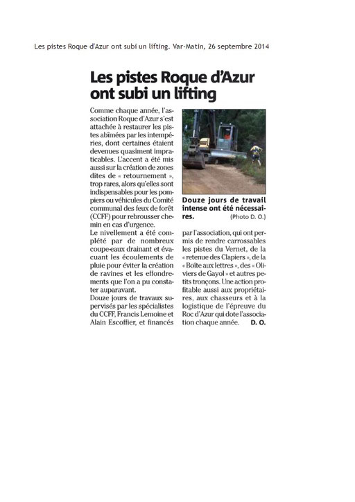 Article Var-Matin, du 26 septembre 2014