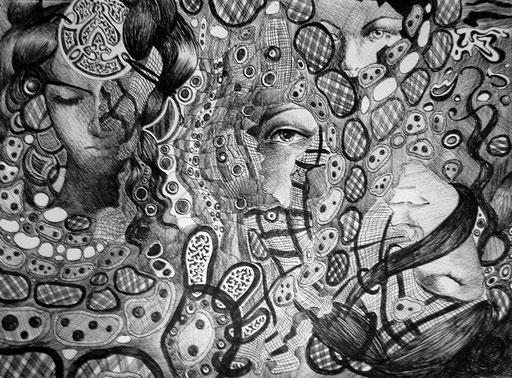 ballpoint pen illustration traditional surrealism