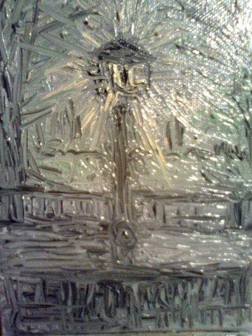 IL PARCO NELLA NEBBIA - 2011 olio su tela 13 x 18