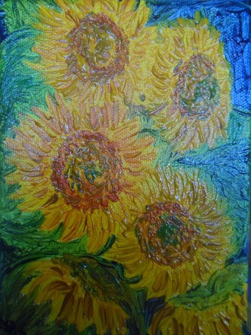 INSEGUITORI DEL SOLE - 2011 olio su tela 13 x 18