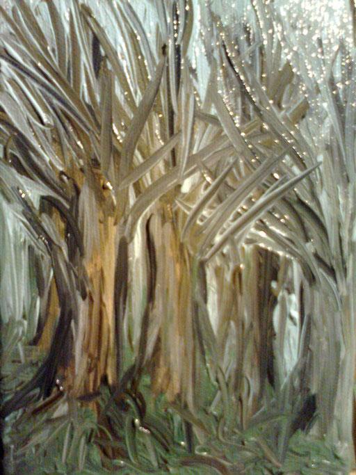 PERDERSI NEL BOSCO -2012 olio su tela 13 x 18