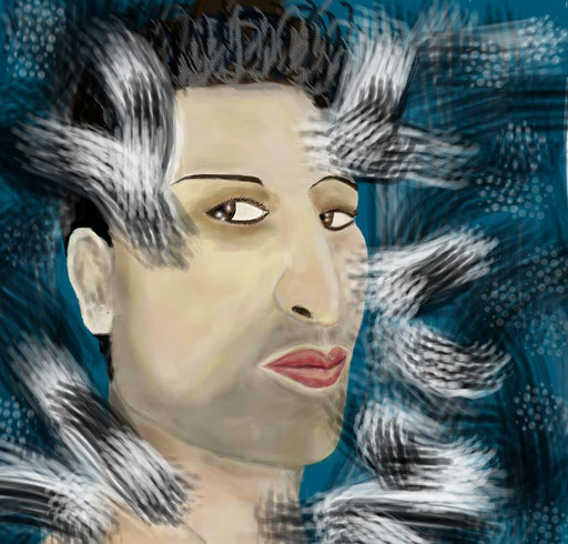 RITRATTO AD ARTISTA LUNATICO - 2012 eseguito al pc tecnica pastelli a cera