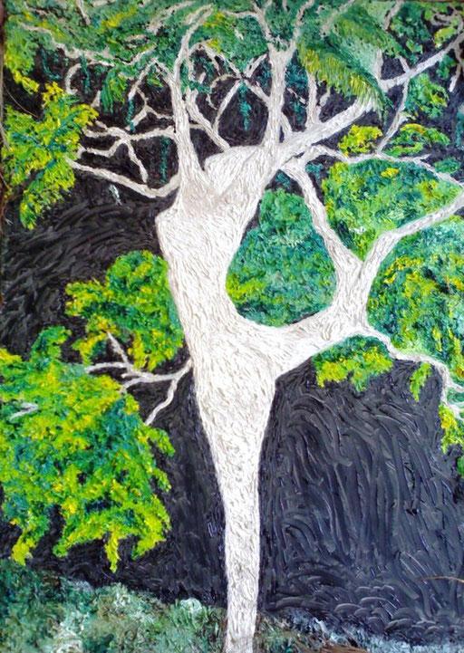 LA DANZA DELL'ALBERO - 2008 olio su tela 45 x 75
