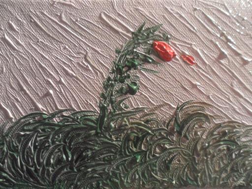 IL VENTO E L'ULTIMA ROSA - 2011 olio su tela 13 x 18
