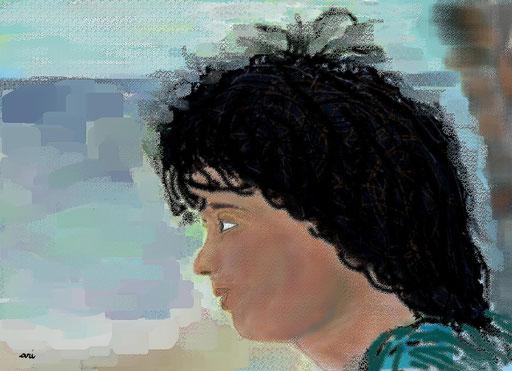 RITRATTO DI MARIANGELA RUGGIU - 2012 eseguito al pc tecnica pastelli a matita e ad olio