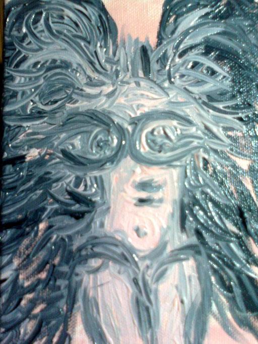 ANGELO NUDO NERO - 2011 olio su tela 13 x 18