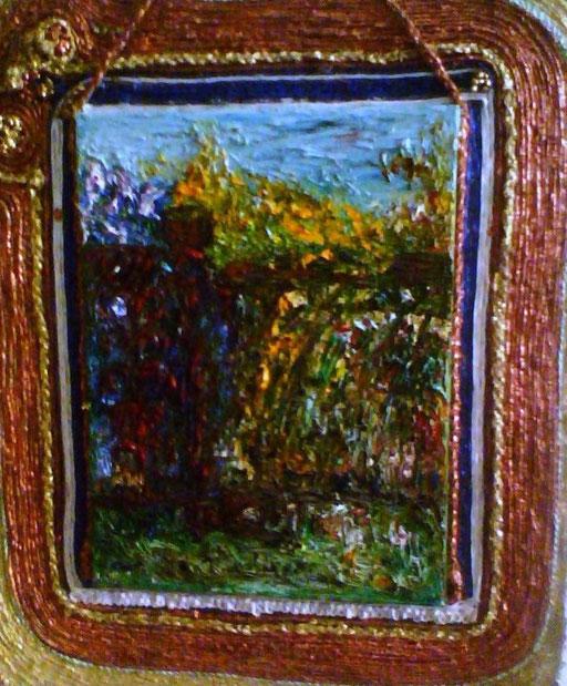 VECCHIO CANCELLO con cornice - 2009 olio su tela 35 x 45 - cornice in corda poi dipinta con colori per ferro.