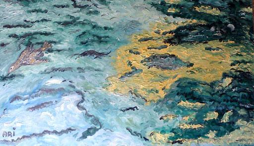 ACQUE IN VOLO - 2010 olio su tela 45 x 90