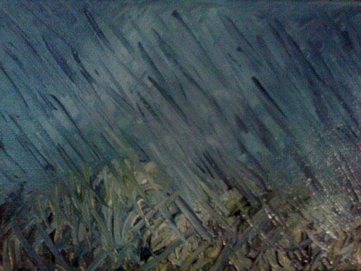 LE MANI NELLA PIOGGIA - 2012  olio su tela 13  x 18