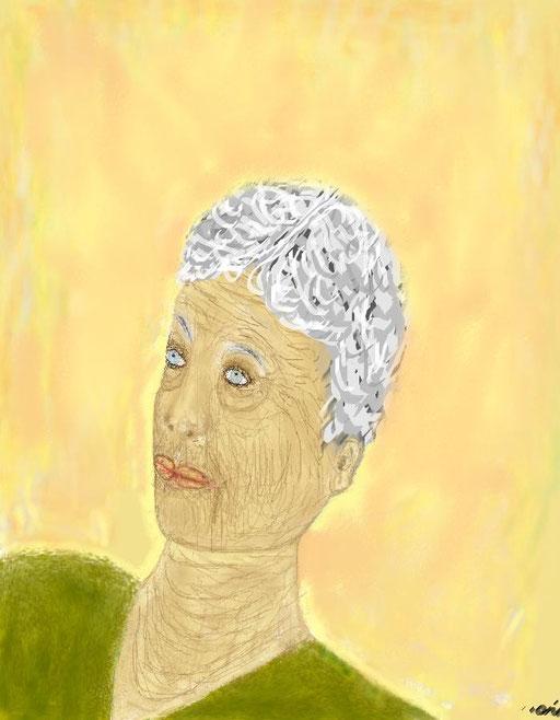 NONNA EVELINA - dipinto eseguito al pc. tecnica matite a pastelli
