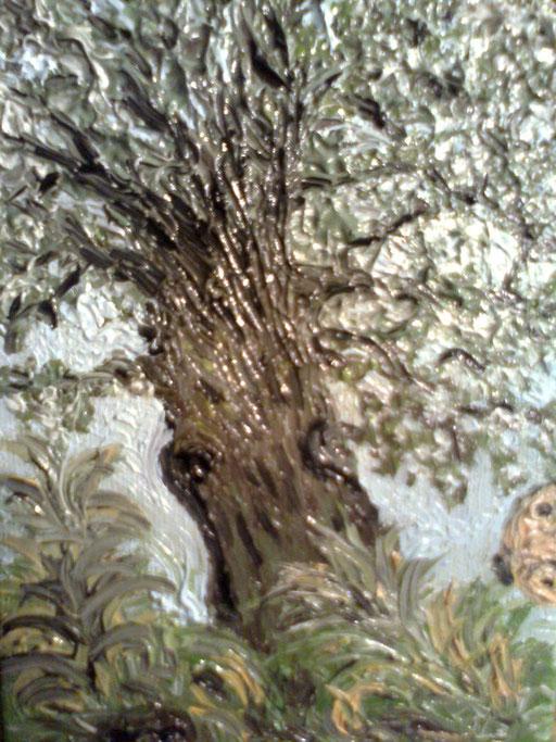 L'ULIVO E LA FARFALLA - 2011 olio su tela 13 x 18