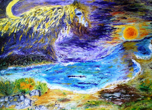 LA CAVALCATA DELLA LUNA - 2009 olio su tela 45 x 75
