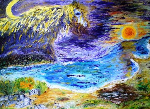 LA CAVALCATA DELLA LUNA - 2009 45 x 75 olio su tela
