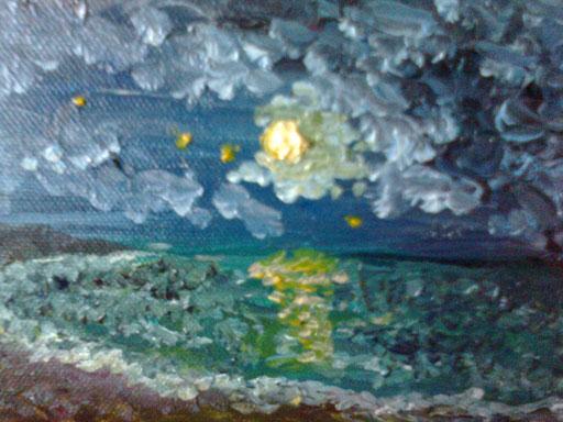 LA LUNA SUL MARE - 2011 olio su tela 13 x 18