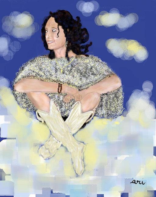 RITRATTO DI INGRID FERRARI - 2012  eseguito al pc tecnica pastelli a cera