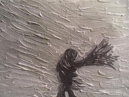 IL VENTO E L'OMBRELLO - 2011 olio su tela 13 x 18