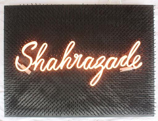 Shahrazade, 2015, 80x60x9 cm, tube dia. 12mm, rose/argon, monté sur lit de clous.