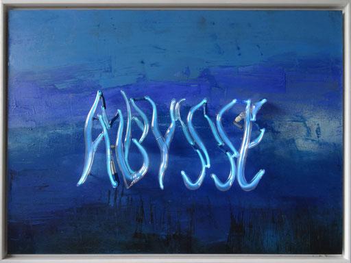 Abysse, 2014, 70x100x10 cm, tube dia. étirés, transp./argon sur bois, technique mixte.