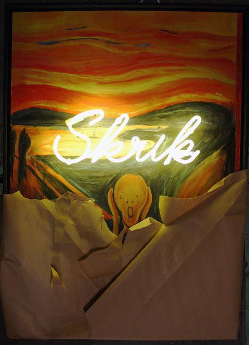 Skrik, 2015, 70x100x7 cm, tube dia. 15, pineapple/argon, monté sur bois, technique mixte, emballé dans du papier kraft.