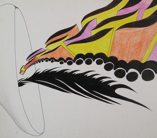 8104 32 cm x 28 cm Tusche und Farbstifte auf Papier
