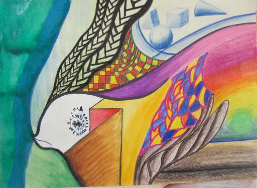 8305  30 cm x 24 cm Tusche und Farbstifte auf Papier