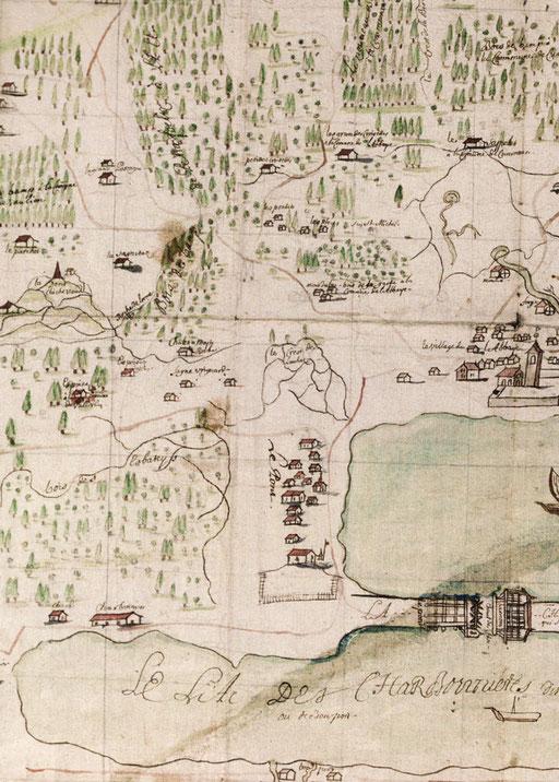 Carta Vallotton del 1709, disegnata prima dell'ascensione al monte Vaulion dei nostri viaggiatori