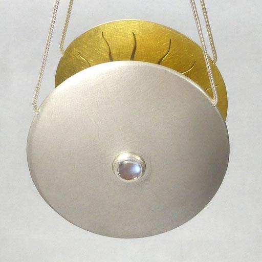 Schmuckanhänger Silber Gold rund mit Stein Feuer-Opal und Mondstein