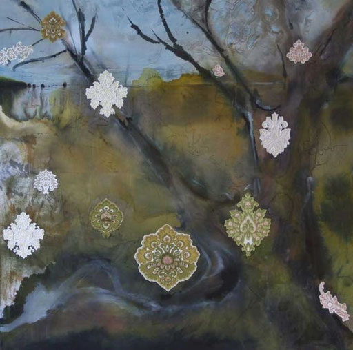 Under Silk Wood Laura Pearsall 2010 acrylics, ink, paper, silk on canvas 120 x 120cm