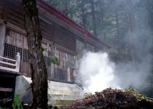 das zusammengetragene, noch feuchte Laub wurde weithin sichtbar verbrannt