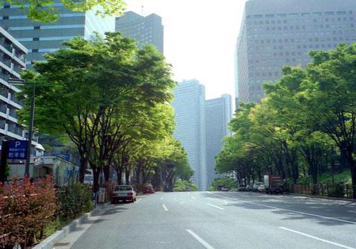 Sonntagmorgen in Tokio - fast kein Verkehr auf den Avenuen