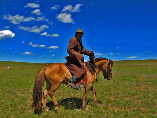 """ein mongolischer """"Billy Bum"""" mit einem aussergewöhnlich schönem Pferd"""
