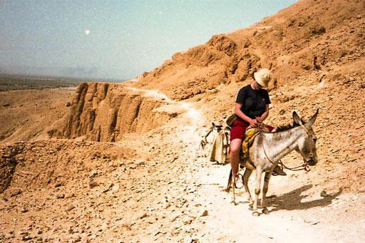auf der Felsstufe über dem Tempel von Theben