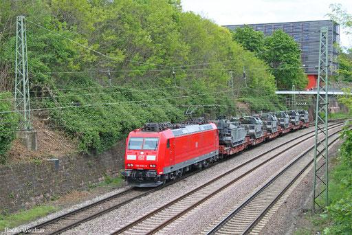 185 032 mit M 44440 Nürnberg Rbf Ausfahrt - Forbach/F (Sdl. Militär mit Bza), Saarbrücken 13.06.2017