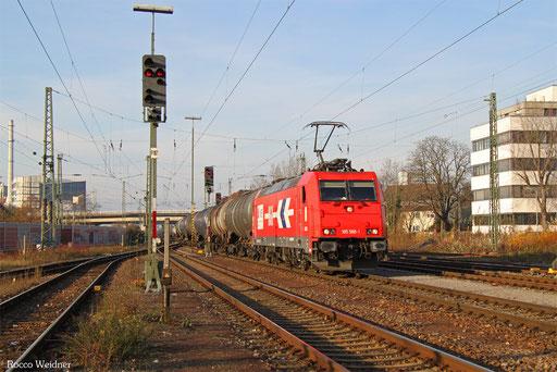 185 588 mit DGS 47092 Karlsruhe-Rheinbrücke Raffinerie - Bettwiesen/CH (Sdl.), Karsruhe West 01.12.2016