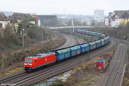 185 061 mit GM 62515 Dillingen Hochofen Hütte - Senftenberg (Sdl. leere Fal PKP), Saarbrücken 21.02.2017