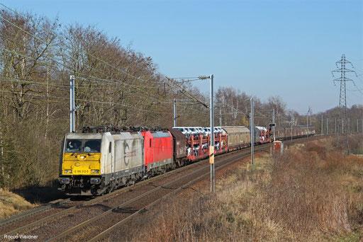 186 312 (186 323) mit 451331 Forbach - Gevrey-Triage, Morsbach (Moselle) 14.02.2018
