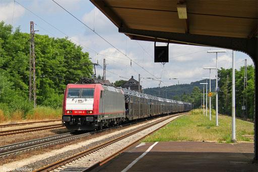 185 599 mit DGS 47198 Passau Hbf - Saarbrücken Rbf Nord (Sdl.PKW), Dudweiler  21.07.2016