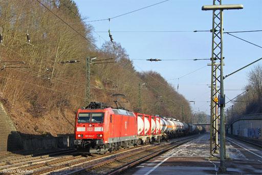 185 024 mit EZ 45216 Gremberg Gsf - Woippy/F (Mosel-Umleiter), Jägersfreude 28.12.2016