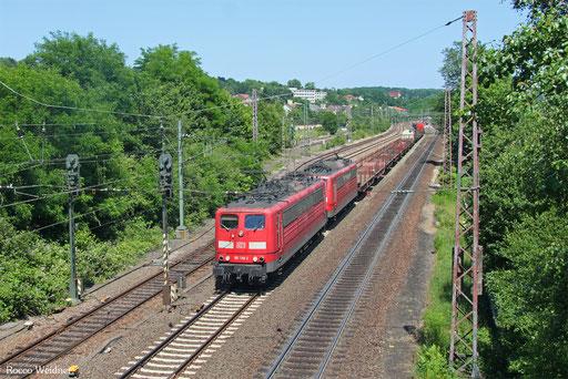 DT 151 130 + 151 132 mit EZ 51926 Mannheim Rbf Gr.G - Saarbrücken Rbf Nord, Sulzbach(Saar) 14.07.2017