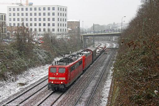 151 020 mit EK 55453 Völklingen Walzwerk - Saarbrücken Rbf Nord, 02.01.2017