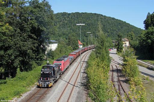 MRCE Dispo  275 009 und DB Cargo 185 112 mit EK 55379 Kornwestheim - Singen (Hohentwiel)