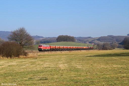 218 003 mit EK 55399 Rammelsbach Steinbruch - Einsiedlerhof, Rehweiler 14.02.2017