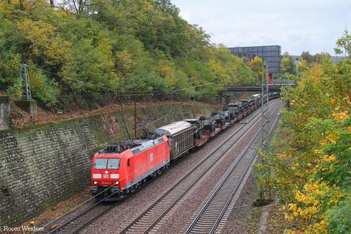185 028 mit M 44422 Grafenwöhr Lager - Forbach/F (Toulouse-Matabi) (Sdl. Militär), Saarbrücken 21.10.2017