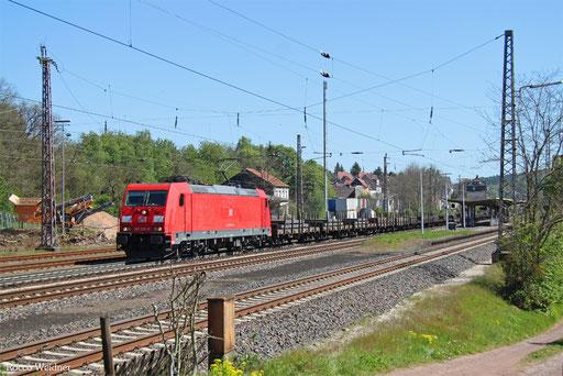 185 232 mit GM 44432 (Dabrowa Gornica/PL) Cottbus - Forbach/F (Fos-Coussoul) (Sdl. Halbzeug), Dudweiler 10.05.2017