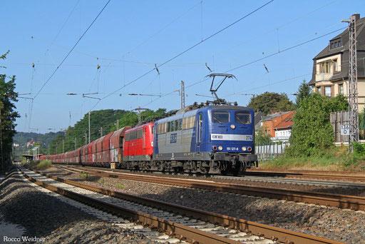 DT 151 127 + 151 083 mit GM 48745 Maasvlakte/NL - Neunkirchen(Saar) Hbf , Dudweiler 10.08.2016