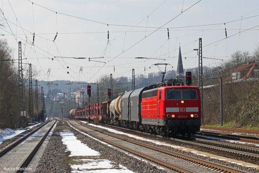 181 214 mit EZ 98809 (Woippy) Forbach7F - Mannheim Rbf Gr.M (Sdl. Frachten), Dudweiler 15.03.2013